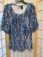 New Directions Womens Hippie Boho Peasant Blouse Top Stretch Sz PM