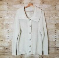 Caslon Nordstrom Women's  Cream Chunky knit Button Front Sweater Plus Size 1x