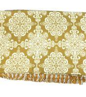 Vintage Custom Hand Made Quilt Bedspread Blanket Gold Ivory Fringe Luxury Rare