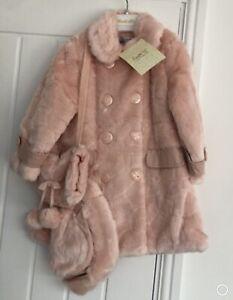 New CoucheTot Girls Fur Coat Hat Bag/Handwarmer Set Pink Ages 1-2 or 4-5 or 5-6