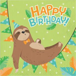 16 x Happy Birthday Sloth Party Napkin Sleepy sloth Animal Zoo party Supplies