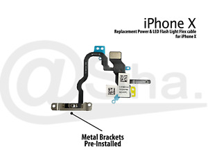 Power & Flash Light Flex Cable With Bracket Replacement for iPhone X