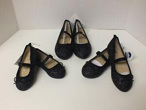 Cat & Jack Girls Slip-On Ballet Flats Toddler Size 5,6,9,10,12 -Black Glitter