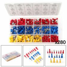 280 assortiti Isolati Terminali Filo elettrico kit connettori Crimp Spade Kit