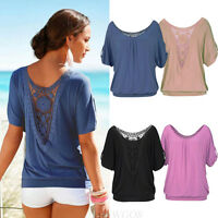 Women Women Summer Loose Tops Blouse Lace Splice Casual Short Sleeve Top T-Shirt