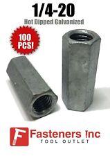 """(Qty 100) 1/4-20 Coupling Nut Hot Dipped Galvanized 7/16"""" Wrench x 1-3/4"""" Long"""