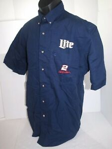 NASCAR Rusty Wallace #2 Miller Lite Chase Short Sleeve Button Front Shirt Medium