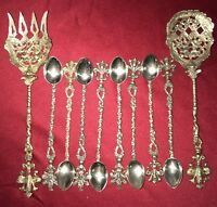 ANTIQUE ORNATE Brass SERVING SPOON FORK & SPOONS MONTAGNANI ITALY Hand Carved