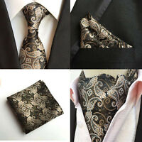 Men Paisley Floral Black Silk Neck Tie Cravat Ascot Pocket Square Set Lot