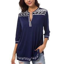 Womens Retro Boho Long Sleeve Blouse Tunic Tops Ladies Loose Shirt Pullover 6-20