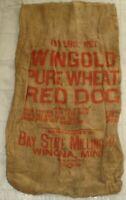 Vintage Wingold Pure Wheat Red Dog 100 LB Burlap Feed Sack Bag Winona, Minnesota