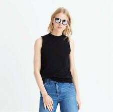 NWOT Madewell Tune Mock Neck Sleeveless Jersey Top in Black ~ Size L / Large