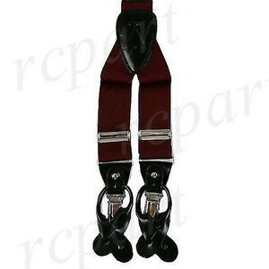 New Y back Men's Vesuvio Napoli Suspenders Braces clip on formal prom burgundy