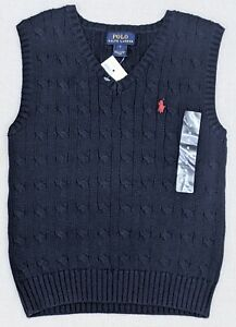 Polo Ralph Lauren Boys Cable Knit Sweater Vest Size 5 Navy Blue Red Logo NEW
