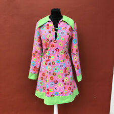 SUPERB 60s 70s COSTUME PSYCHEDELIC PINK FLORAL COLLARED MINI DRESS SIZE 36 UK 8