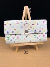 LV524 LOUIS VUITTON White Multicolor Canvas Leather Sarah Envelope Wallet
