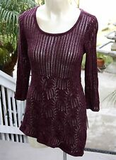 INC Sweater Asymmetric Tunic Loose Knit Top Pullover Flattering Maroon New $79