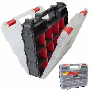 34 Compartment Professional Tool Organiser Case Box Storage Double Sided