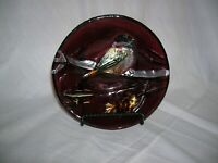 Cranberry Glass Bowl with Embossed Painted Bird