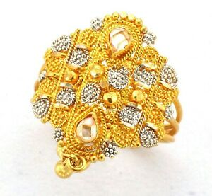 Ladies 22ct Gold Hallmarked Pear Cut Gem Filigree & Bead Kite Shape Dress Ring