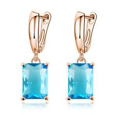 Fashion Women Crystal Rectangular Inlaid Earrings Ear Hoop Dangle Drop Jewelry