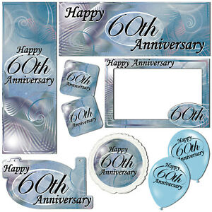 Happy 60th Diamond Anniversary Blue Banners Decorations Balloons Party Supplies
