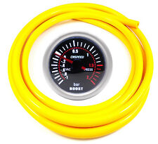 52mm CN-1 Smoked Turbo Boost Gauge 2 Bar With Yellow Silicone Hose