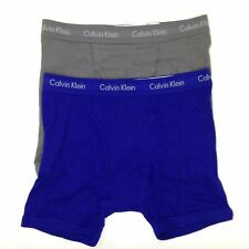 $66 Calvin Klein Underwear Men'S Gray Blue Np2015o Cotton 2-Pack Boxer Briefs L