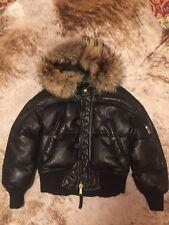 Dsquared leather down jacket hood fur sz 40