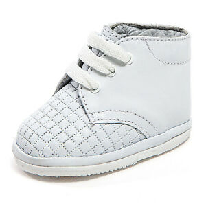 Baby Boy White Leather High Top shoes with Laces small Square Design: Size 0-3