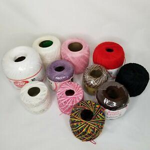 Lot 11 Skeins Yarn Red Heart Aunt Lydia Bernat Crochet Size 3 5 10 30 Pink White