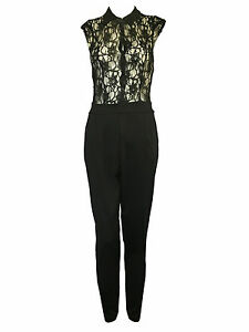 Womens Celeb Inspired Beaded Button  Collar Floral Lace Flare Ladies Jumpsuit