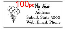 100 Personalised return address label custom mailing sticker 56x25mm balloons