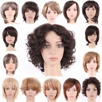 Dark Brown Auburn Women's Short Hair Wigs Natural Curly Wavy Straight Full Wig #