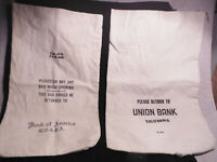2 VINTAGE CANVAS BANK DEPOSIT BAGS ~ UNION BANK CA & BANK OF AMERICA