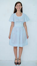 Vintage Vtg 70's Blue White Diamond Check Dress Butterfly Cap Sleeves - XS to S