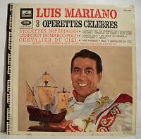 """33T Luis MARIANO Disque LP 12"""" 3 OPERETTES CELEBRES -VOIX MAITRE 40105 F Rèduit"""