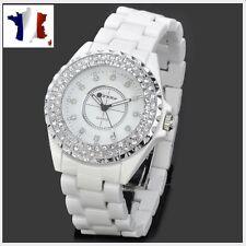 Montre mixte-bracelet céramique-Boucle dèployante-blanche et strass-TOP TENDANCE