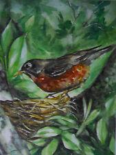 Robin bird wildlife print of watercolor painting