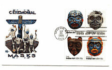 1834-37 Indian Masks, Bittings by Alan Diamant, block of 4  FDC