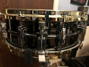 """Ludwig 14x5 Black Beauty 14"""" snare drum with brass plated diecast hoops"""
