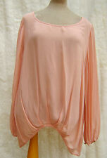 Next Pink Sheer Chiffon Floaty asymmetric Hem Bishop Sleeve Poet Blouse 16 18