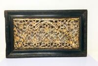 Ancient Fine Floral Jharoka Jali Cut 2 Sided Wall Panel Wood Hand Craved Panel