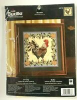 """BUCILLA PLAID COUNTED CROSS STITCH KIT ROOSTER 12""""x 12"""" MADE IN USA SEALED NIP"""