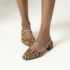 Chic Women Slippers Sandals Shoes Outdoor Leopard Print Backless Slip On Shoes D