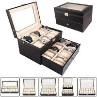 6- 24 Slot Watch Box Leather Display Case Organizer Top Glass Jewelry Storage BR