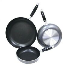 Heavy Duty Non-Stick Frying Pan 3-Piece Set (Black/Grey)