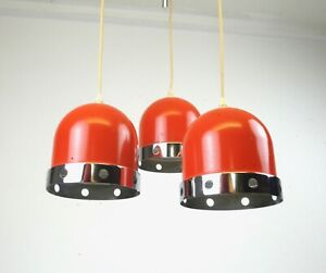 STUNNING  SPACE AGE POP ART ORANGE & CHROME CEILING 3 SPOT HANGING LAMP COLANI