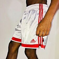 Vintage 90s Adidas Vigo Silky Satin Soccer Shorts Glanz White Red YL Mens Small