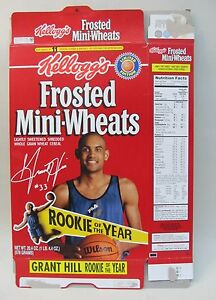 GRANT HILL Rookie of The Year Kellogg's Cereal Box empty flat basketball Pistons